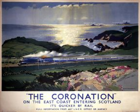 The Coronation on the east coast entering Scotland, Scottish Railway Travel Art Poster Print